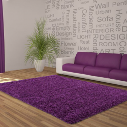 Tapis Shaggy Deluxe Tapis DREAM SHAGGY 4000 VIOLET 120 X 120 cm Ronde