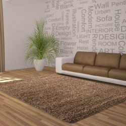 Tapis Shaggy Deluxe Tapis DREAM SHAGGY 4000 MOCCA 80 X 150 cm Coureur
