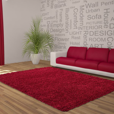 Tapis Shaggy Deluxe Tapis DREAM SHAGGY 4000 ROUGE 120 X 120 cm Ronde
