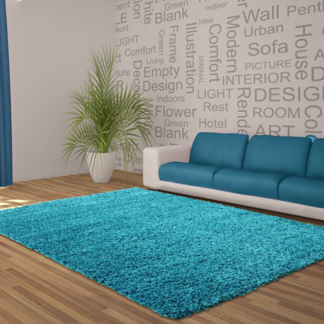 Tapis Shaggy Deluxe Tapis DREAM SHAGGY 4000 TURQUOISE 60 x 550 cm Coureur