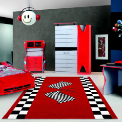 Tapis Enfant HAPPY 1804 ROUGE 80 X 150 cm Coureur